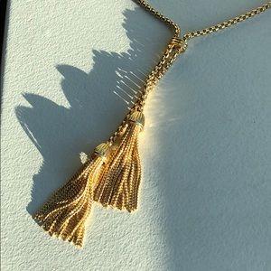 J Crew gold tassel necklace
